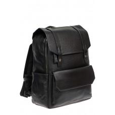 На фото 1 - Рюкзак мужской из фактурной искусственной кожи с карманом для ноутбука, цвет чёрный