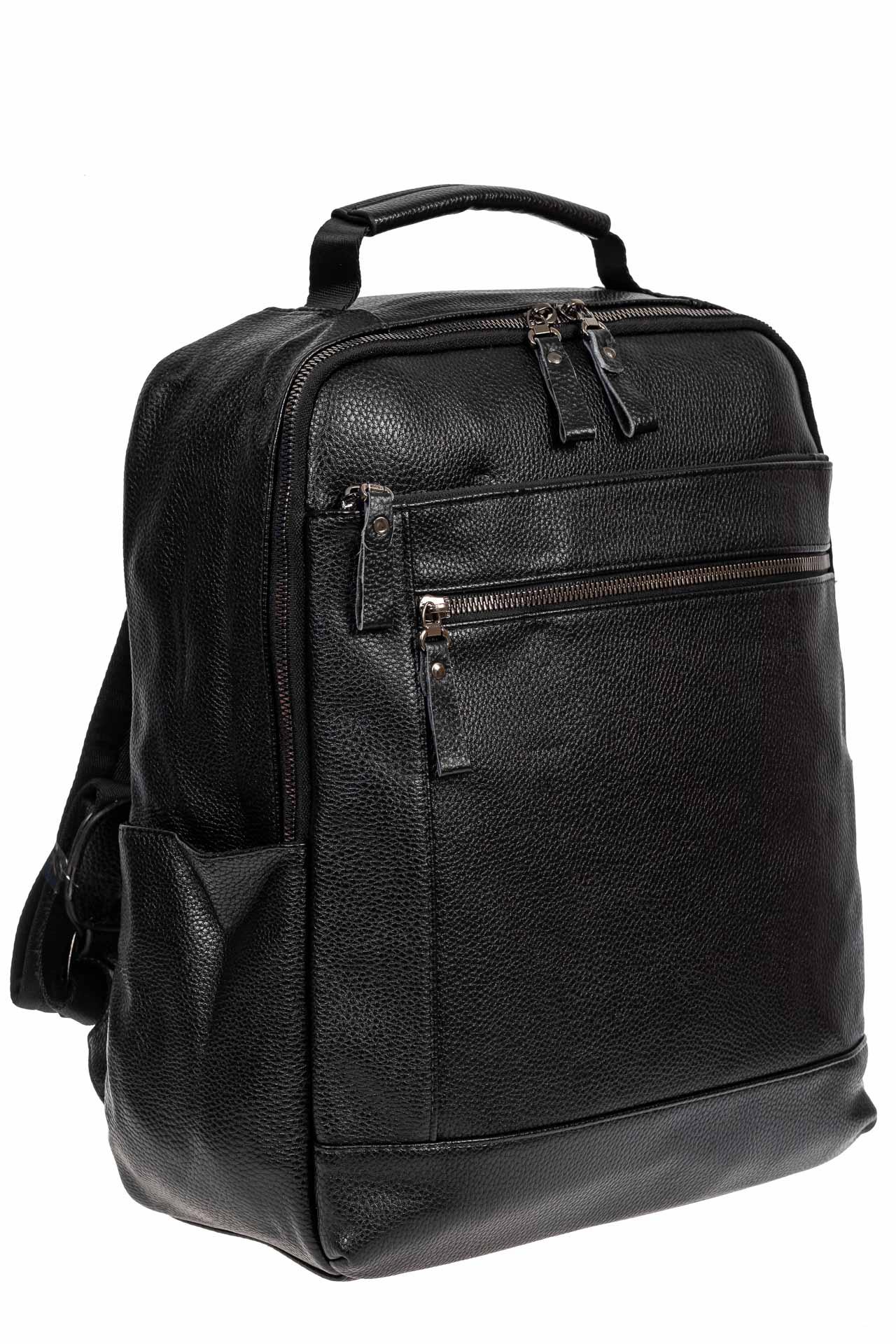 Мужской рюкзак из экокожи с отделением для ноутбука, цвет чёрный