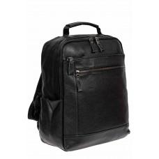 На фото 1 - Мужской рюкзак из экокожи с отделением для ноутбука, цвет чёрный