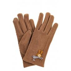 На фото 1 - Перчатки женские из велюра, цвет бежево-коричневый