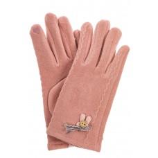 На фото 1 - Перчатки женские из велюра с аппликацией, цвет розовый