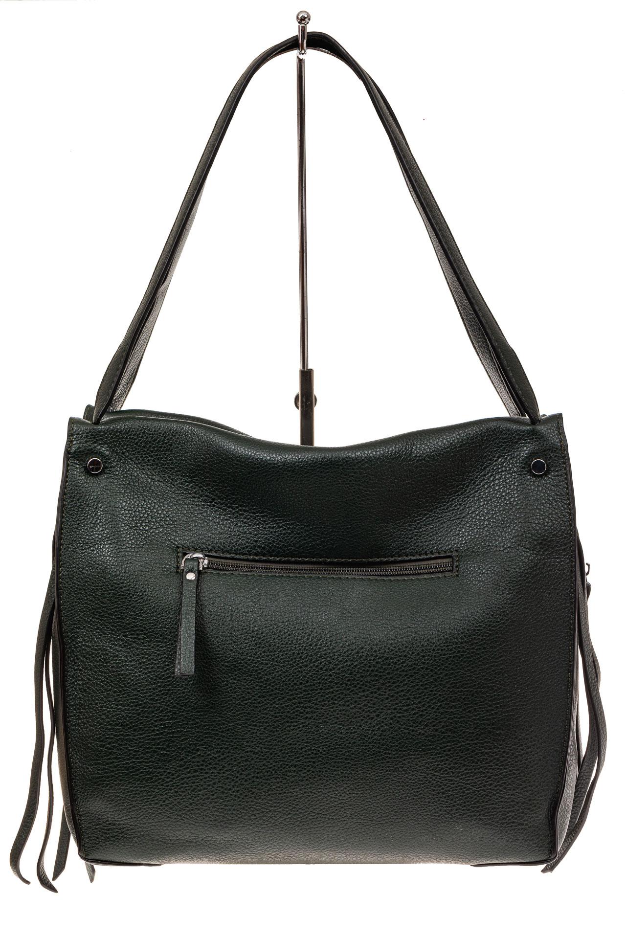На фото 2 - Тоут сумка из искусственной кожи (экокожи), цвет зеленый