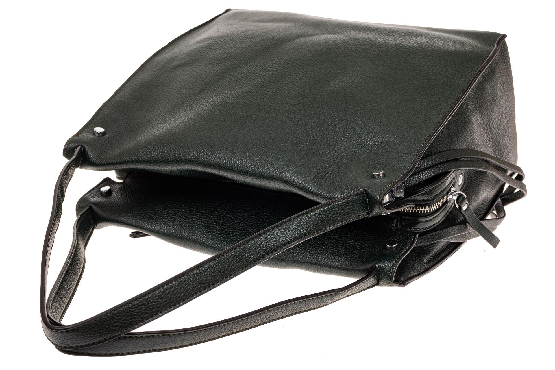 На фото 3 - Тоут сумка из искусственной кожи (экокожи), цвет зеленый