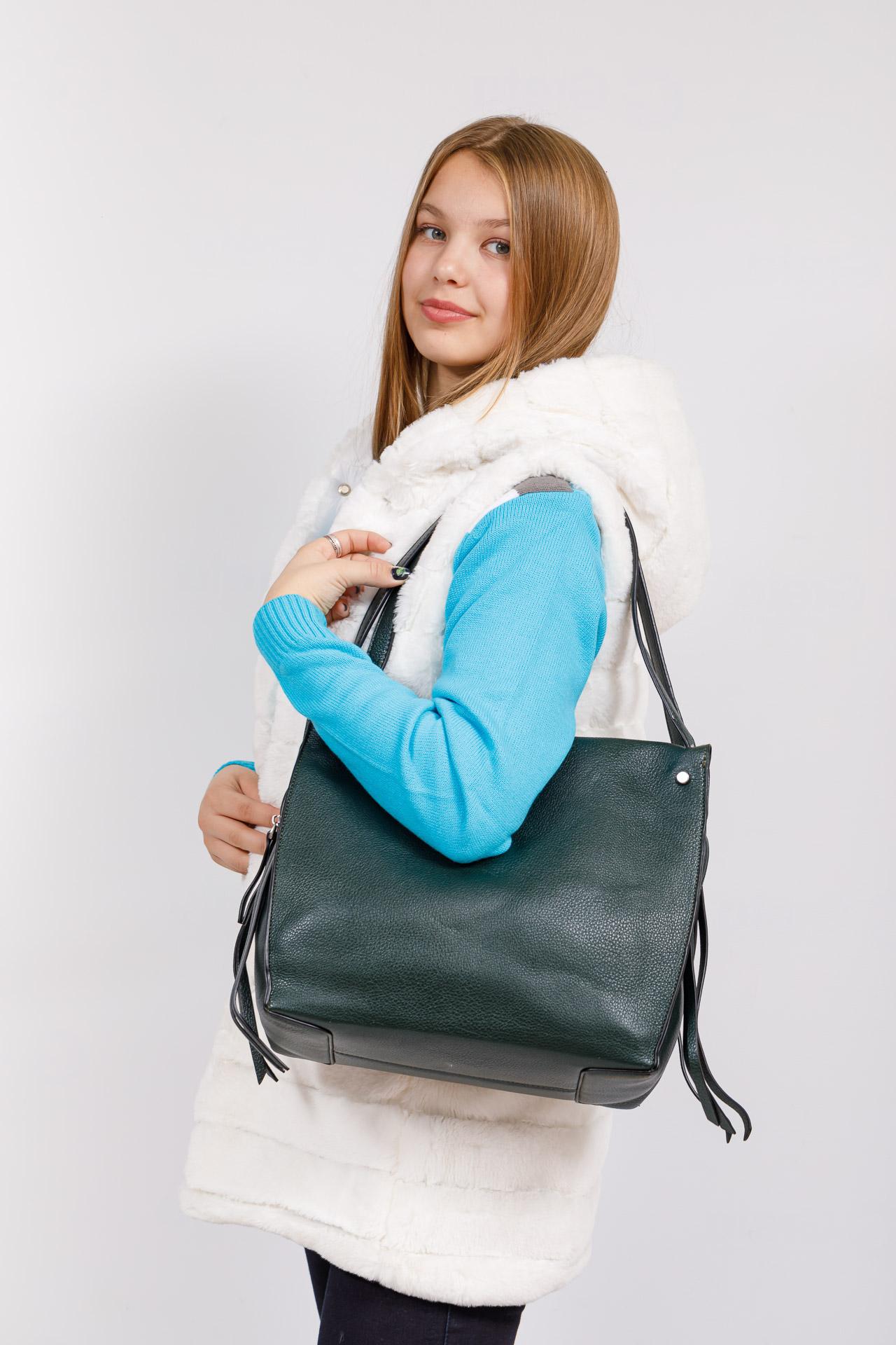 На фото 4 - Тоут сумка из искусственной кожи (экокожи), цвет зеленый