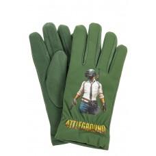 На фото 1 - Перчатки молодежные с рисунком, цвет зеленый