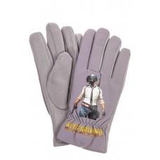 На фото 1 - Перчатки молодежные с рисунком, цвет серый