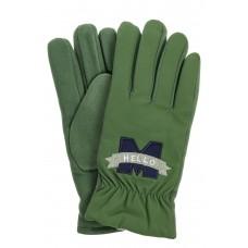 На фото 1 - Перчатки молодежные с надписью, цвет зеленый