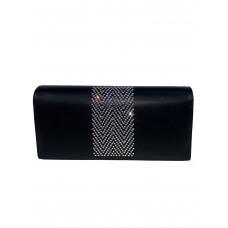 На фото 1 - Кошелёк-портмоне со стразами, цвет чёрный