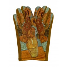 На фото 1 - Женские перчатки из велюра с принтом