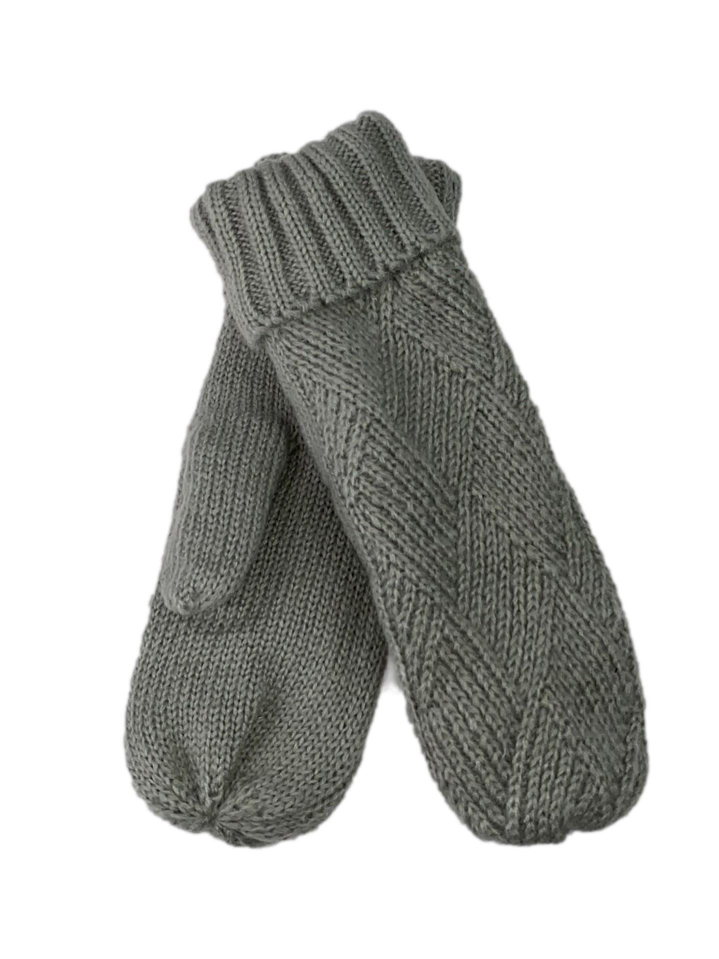 Шерстяные женские варежки с меховым подкладом, цвет светло-серыйW003DP1120/2