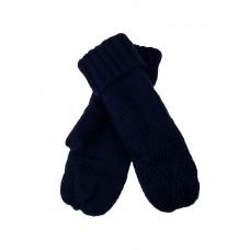 На фото 1 - Шерстяные женские варежки с меховым подкладом, цвет тёмно-синий