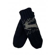 На фото 1 - Женские варежки из шерсти с меховым подкладом и вышивкой, цвет чёрный