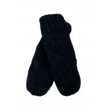 На фото 1 - Шерстяные женские варежки с подкладом из меха, цвет чёрный