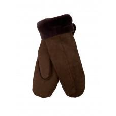 На фото 1 - Варежки женские из велюра и искусственного меха, цвет тёплый коричневый