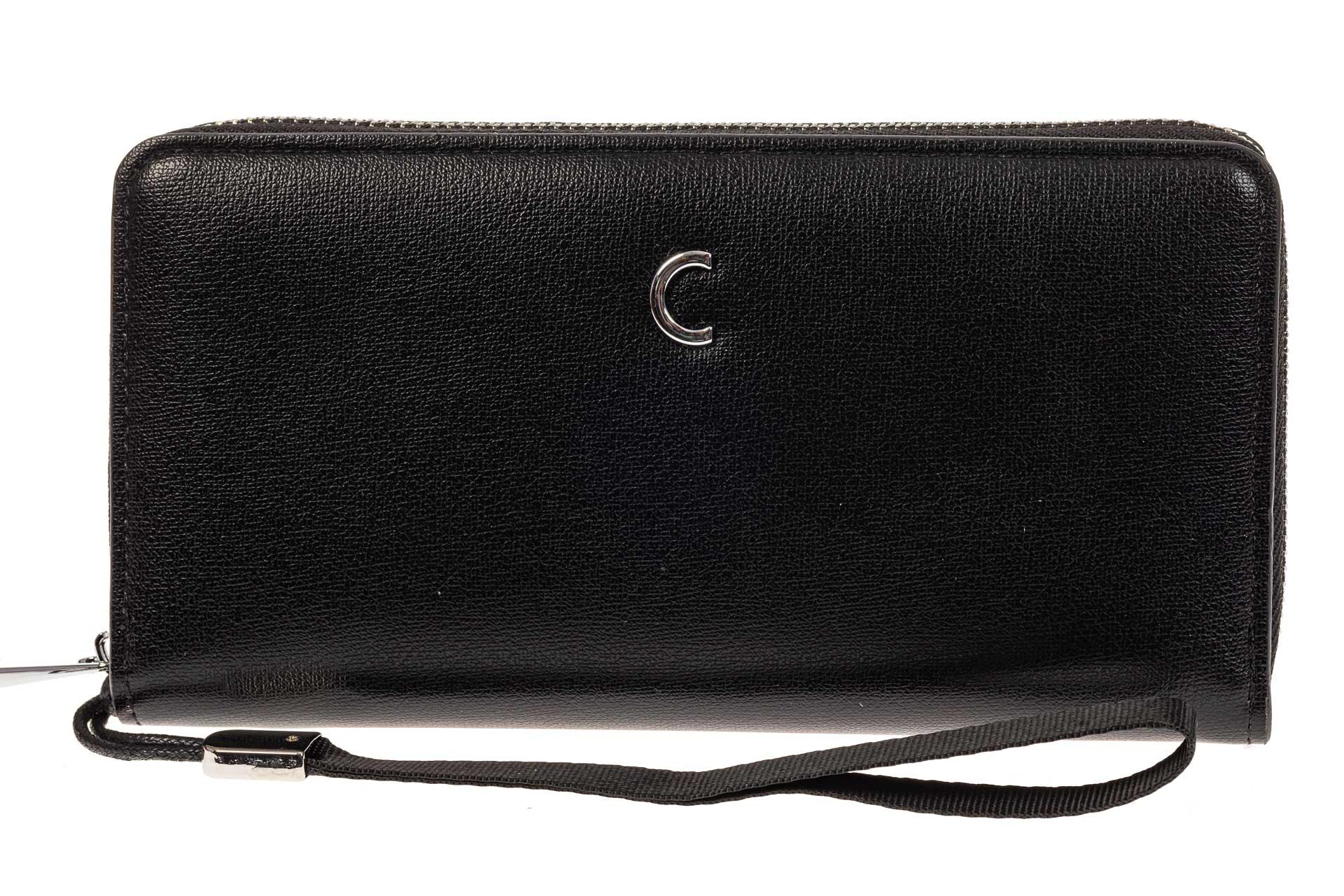 На фото 1 - Женский кошелек из искусственной кожи, цвет черный