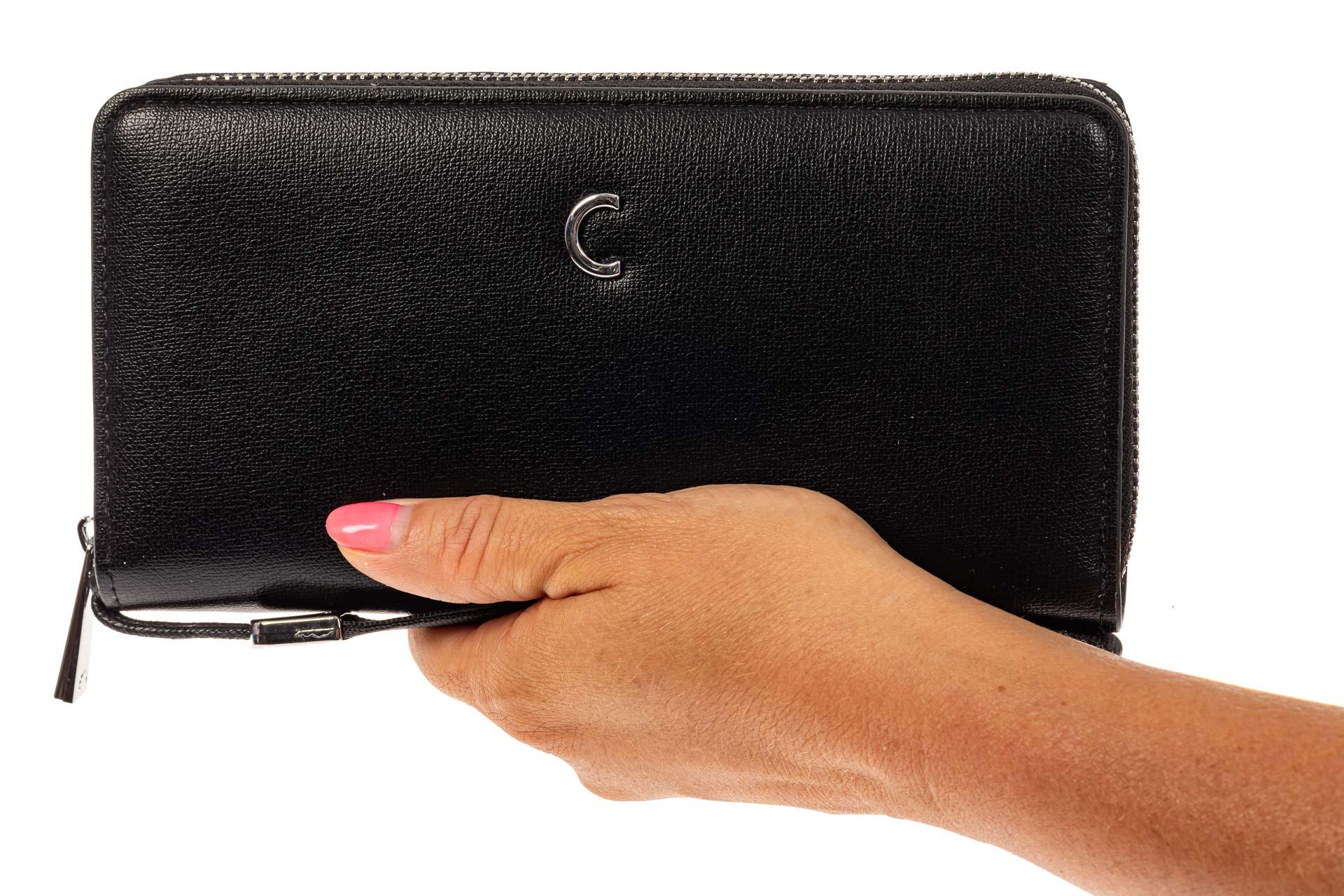 На фото 3 - Женский кошелек из искусственной кожи, цвет черный