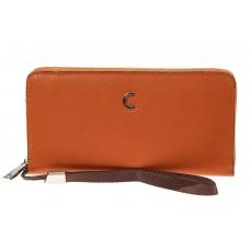 На фото 1 - Женский кошелек из искусственной кожи, цвет рыжий