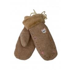 На фото 1 - Зимние женские варежки из шерсти и искусственного меха, цвет светло-коричневый