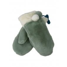 На фото 1 - Женские меховые варежки, цвет бледно-зелёный