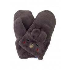 На фото 1 - Меховые женские варежки в виде кроликов, цвет серый