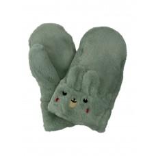 На фото 1 - Меховые женские варежки в виде кроликов, цвет бледно-зелёный