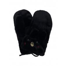 На фото 1 - Меховые женские варежки в виде кроликов, цвет чёрный