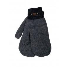 На фото 1 - Утеплённые мужские варежки из шерсти, цвет серый