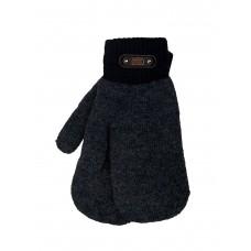 На фото 1 - Утеплённые мужские варежки из шерсти, цвет тёмно-серый