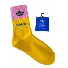 На фото 1 - Спортивные женские носки с высокой резинкой, цвет жёлтый с розовым