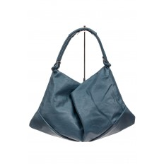На фото 2 - Большая женская сумка из искусственной кожи, цвет голубой