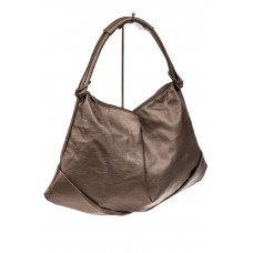На фото 1 - Большая женская сумка из искусственной кожи, цвет бронза