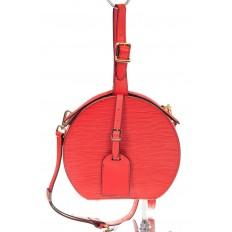 На фото 2 - Сумочка-коробка из кожи красного цвета X231AK