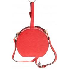 На фото 3 - Сумочка-коробка из кожи красного цвета X231AK