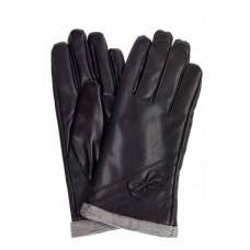 На фото 1 - Перчатки женские из искусственной кожи, цвет черный
