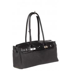 На фото 1 - Женская сумка-багет из брезентовой ткани, цвет графит