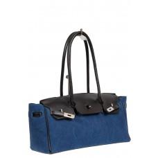 На фото 1 - Женская сумка-багет из брезентовой ткани, цвет синий