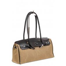 На фото 1 - Женская сумка-багет из брезентовой ткани, цвет светло-рыжий