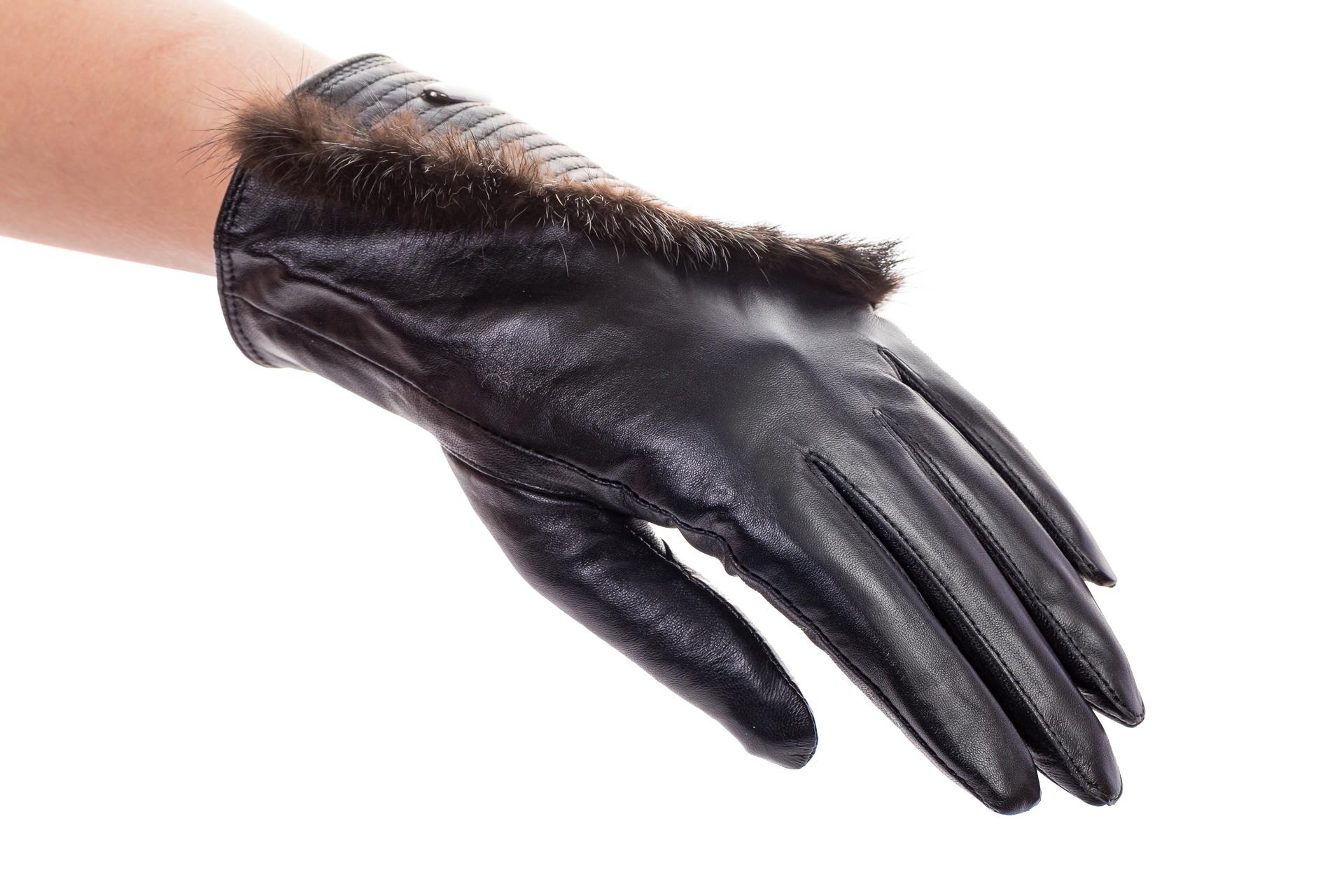 На фото 1 - Комбинированные перчатки из кожи и меха