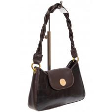На фото 1 - Женская сумка-седло с плетёной ручкой, цвет чёрный