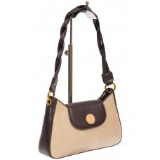 На фото 1 - Женская сумка-седло с плетёной ручкой, цвет молочный