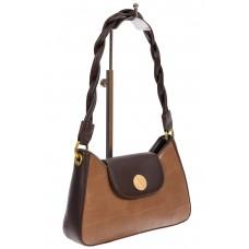 На фото 1 - Женская сумка-седло с плетёной ручкой, цвет светло-коричневый
