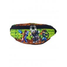 На фото 1 - Детская сумка на пояс из текстиля с принтом, разноцветная