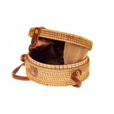 На фото 3 - Круглая сумка-коробочка из соломы, цвет крафт