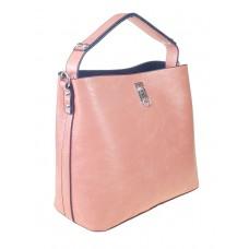 На фото 1 - Летняя женская сумка тоут из экокожи, цвет нежно-розовый