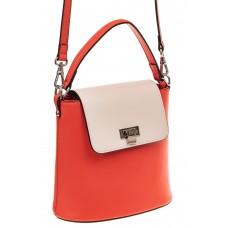 На фото 1 - Женская сумка-ведерко из натуральной кожи, цвет красный с белым