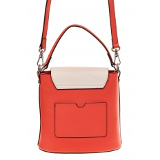 На фото 2 - Женская сумка-ведерко из натуральной кожи, цвет красный с белым
