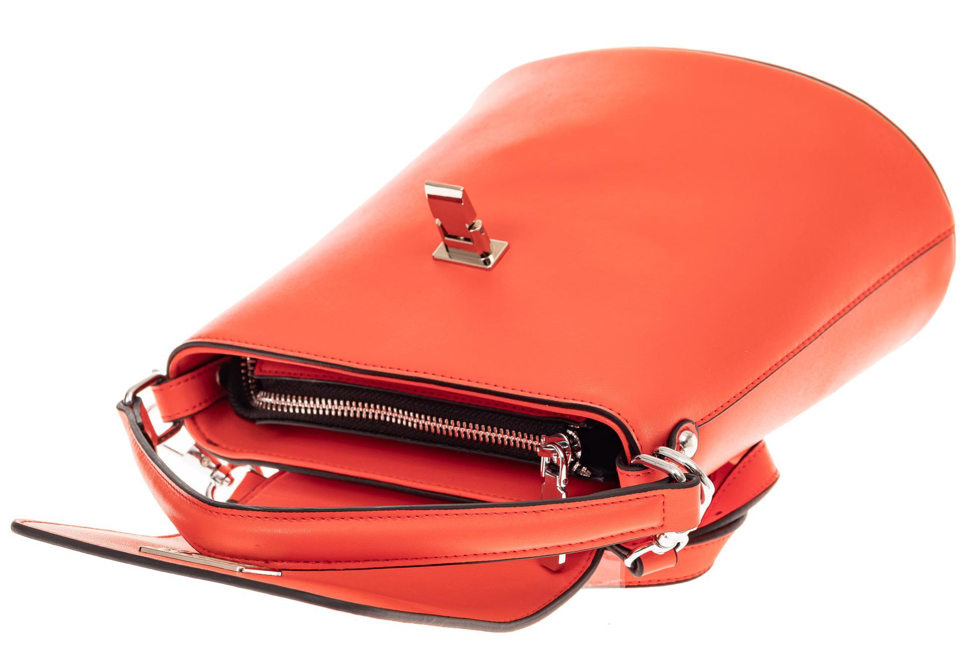 На фото 3 - Женская сумка-ведерко из натуральной кожи, цвет красный с белым