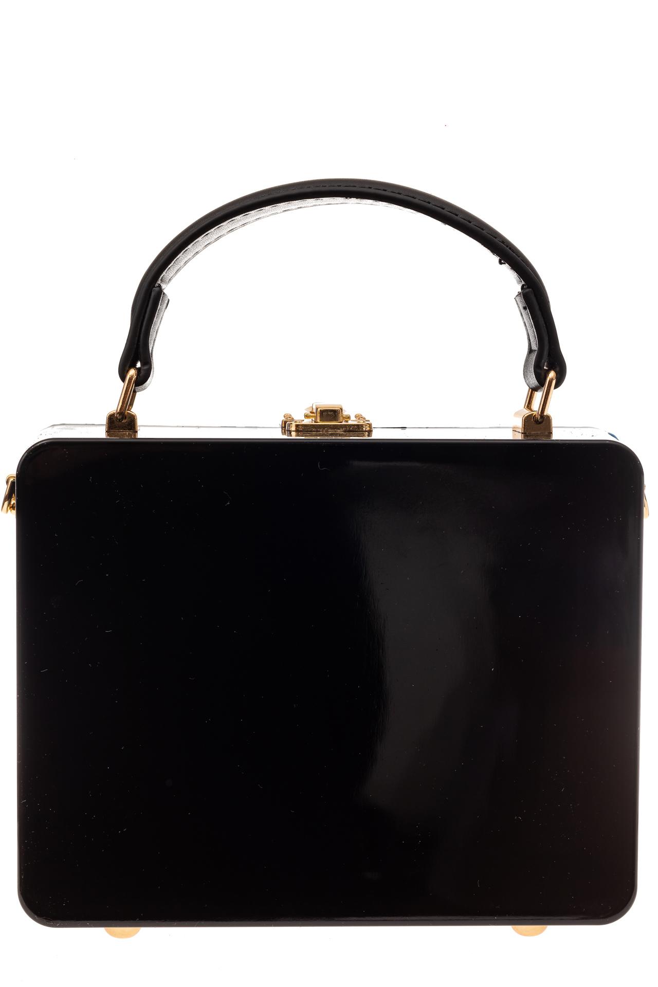 На фото 3 - Сумка коробочка из пластика и искусственной кожи, цвет черный