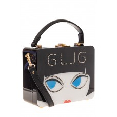 На фото 1 - Сумка-коробочка из пластика и искусственной кожи, основной цвет черный
