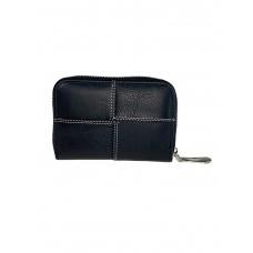 На фото 1 - Кожаный кошелёк-визитница с геометрической строчкой, цвет чёрный